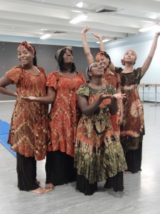 """Border Crossing"" is featured in the Dance Department's fall event, ""Dancers Without Borders."" L-R: Ronisha Peters, Jasmine Wyatt, Evan Fennell, Nancy Blake, and Chanel Parker"