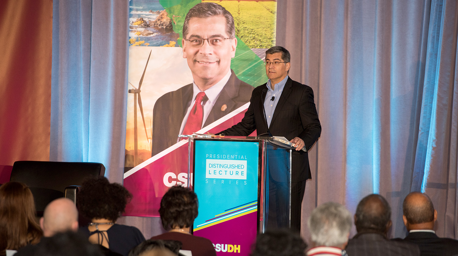 Attorney General Xavier Becerra serves as the feature speaker during CSUDH's Presidential Distinguished Lecture Series.