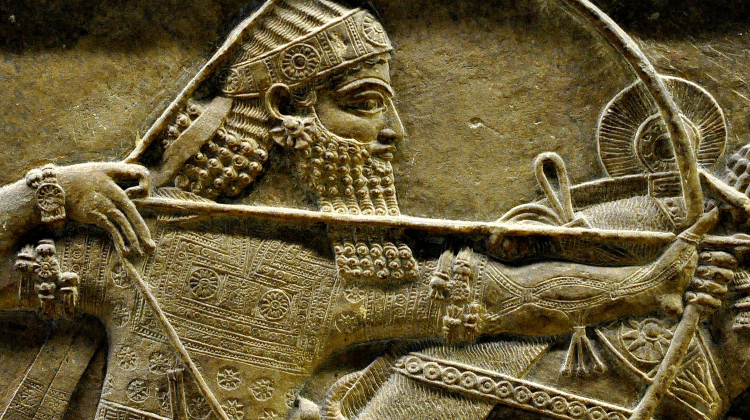 Ashurbanipal II, detail of a lion-hunt scene from Nineveh, 7th century BC